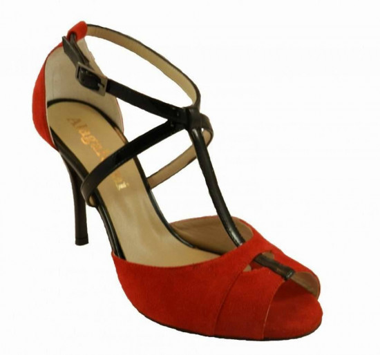Diez Red Suede and Black Patent Leather