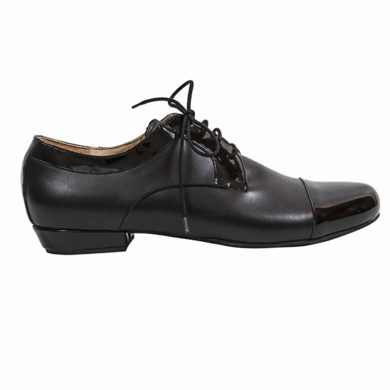 Derby Black Leather and Patent Leather