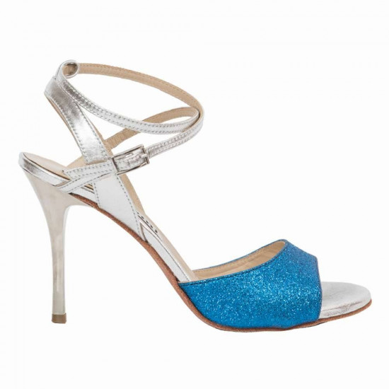 Maia Sky Blue Glitter and Metal Silver