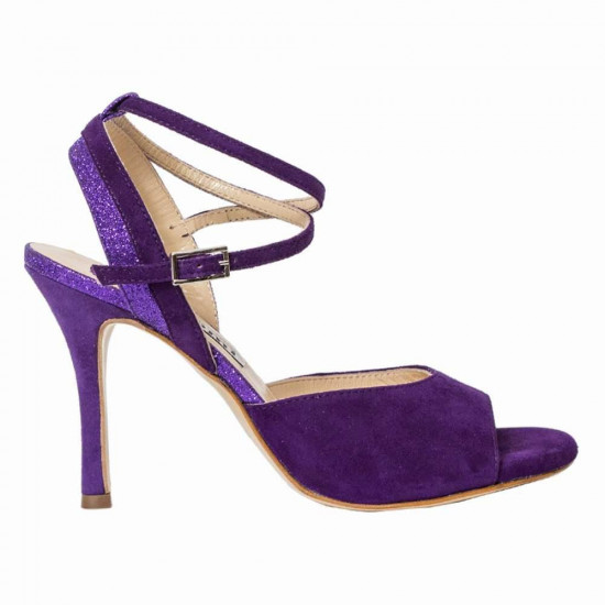 Nina Purple Suede and Glitter